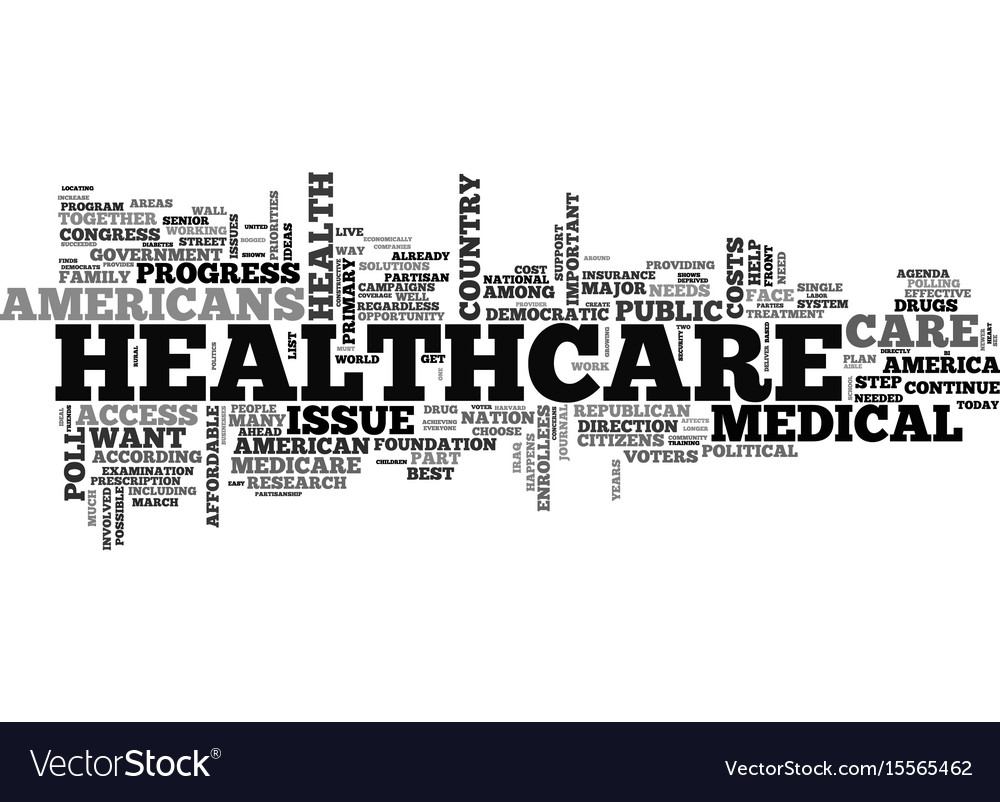 A healthcare agenda for america text word cloud