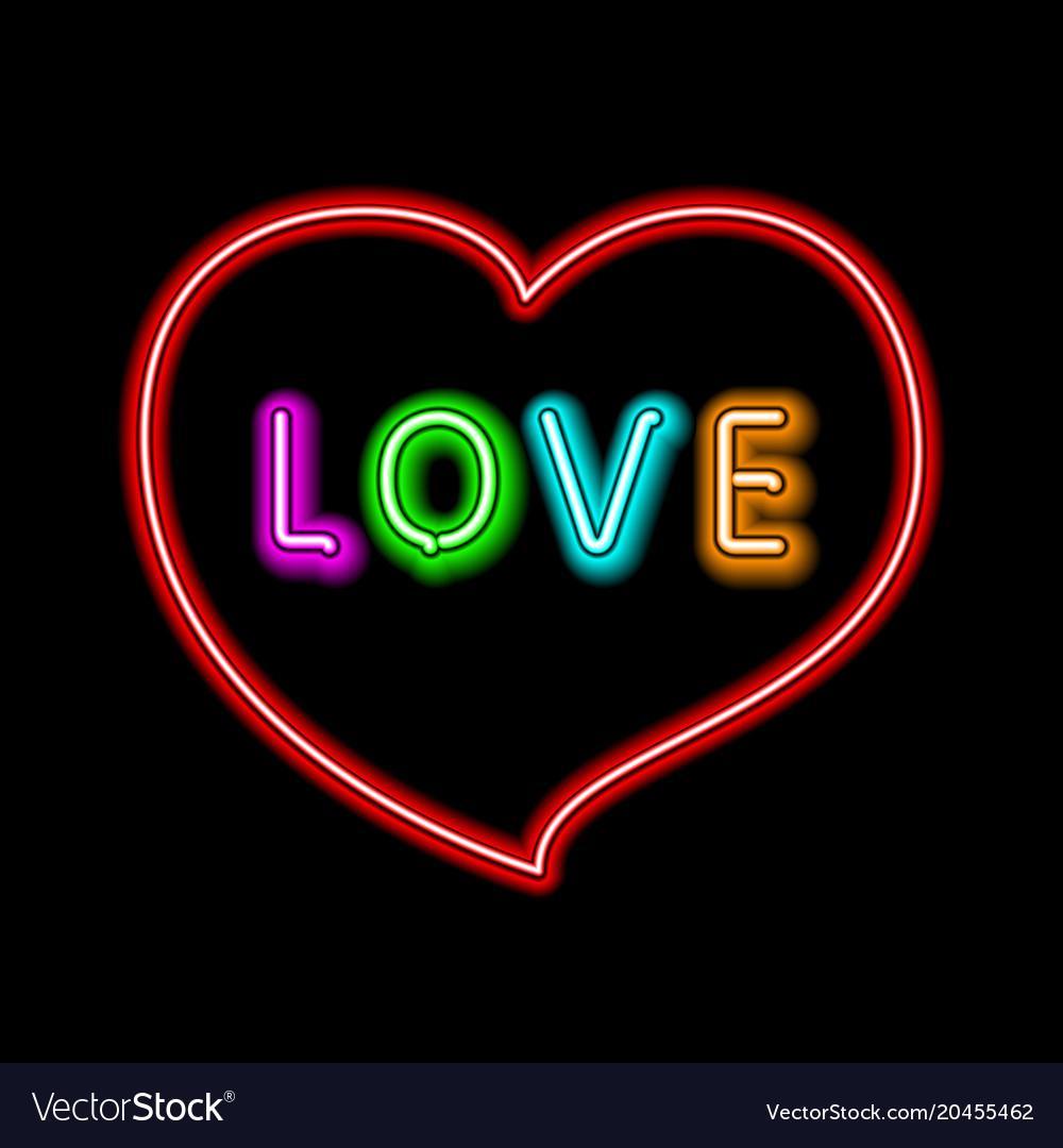 bright heart neon sign retro neon heart sign on vector image