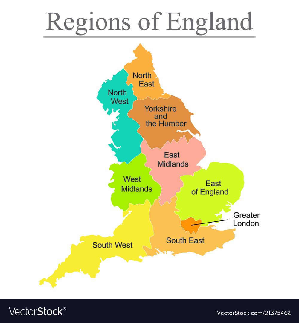 Colorful Map Of England With Outline On White Vector Image