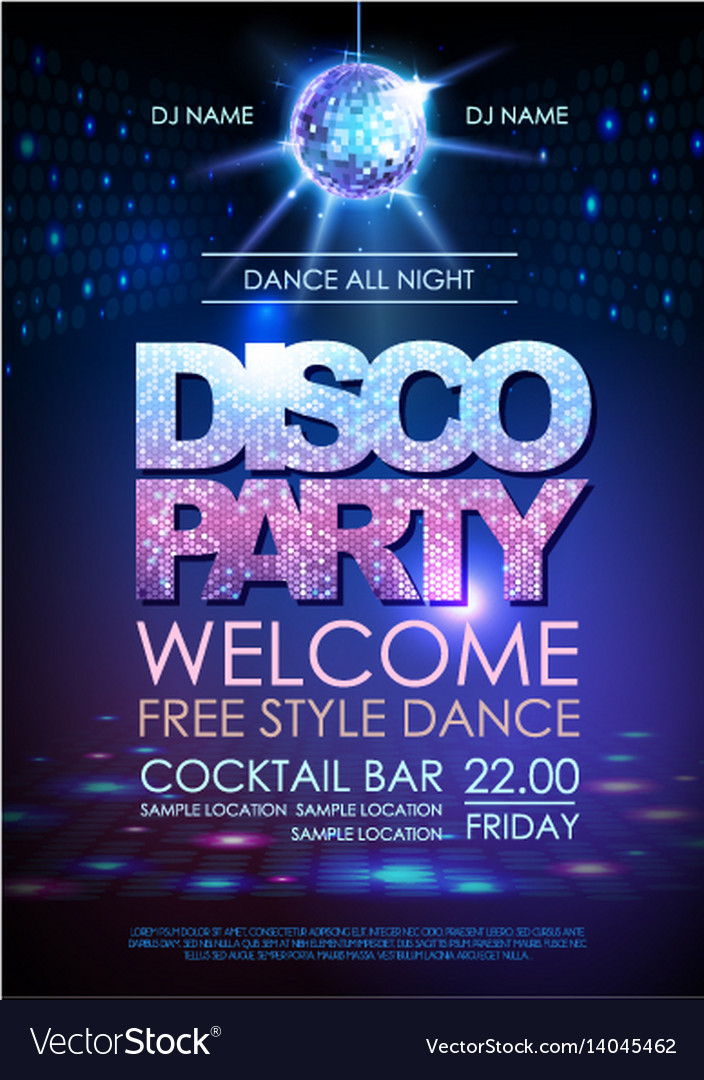 Disco ball background disco party poster
