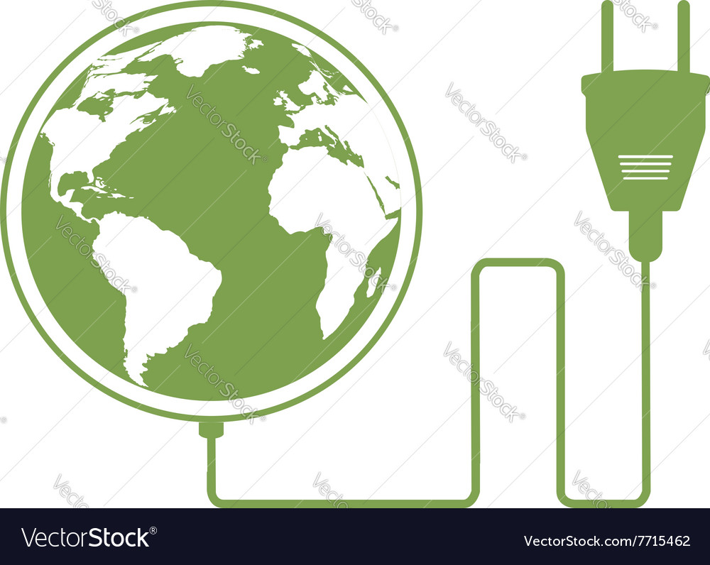 Ecology concept with electric plug vector image