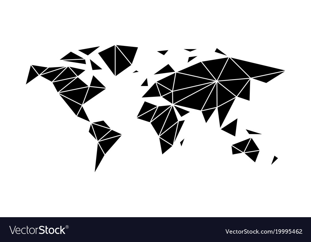 Flat world map in the style of triangulation vector image gumiabroncs Gallery