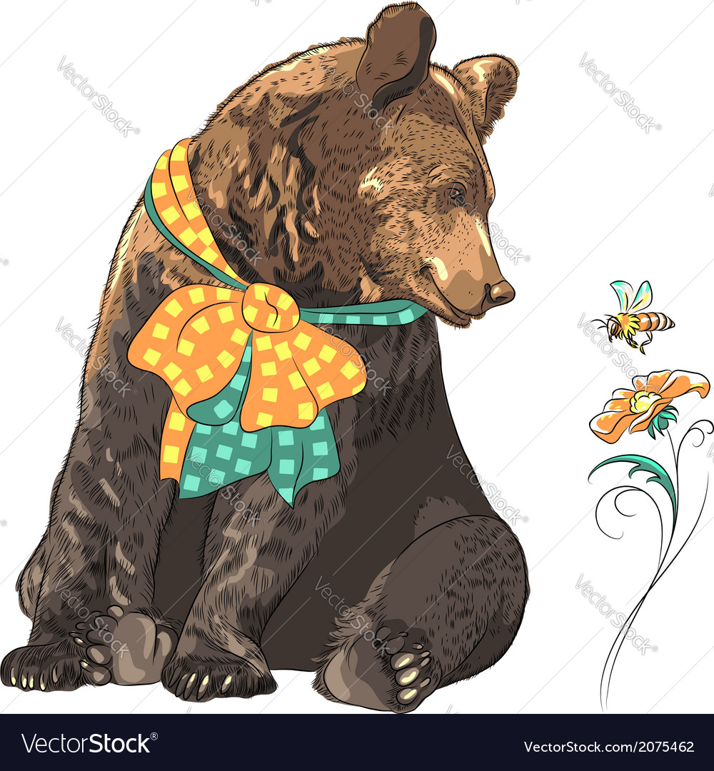 Funny cartoon hipster bear with bee