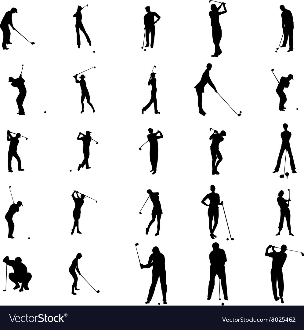 Golfer silhouette set icons simple style