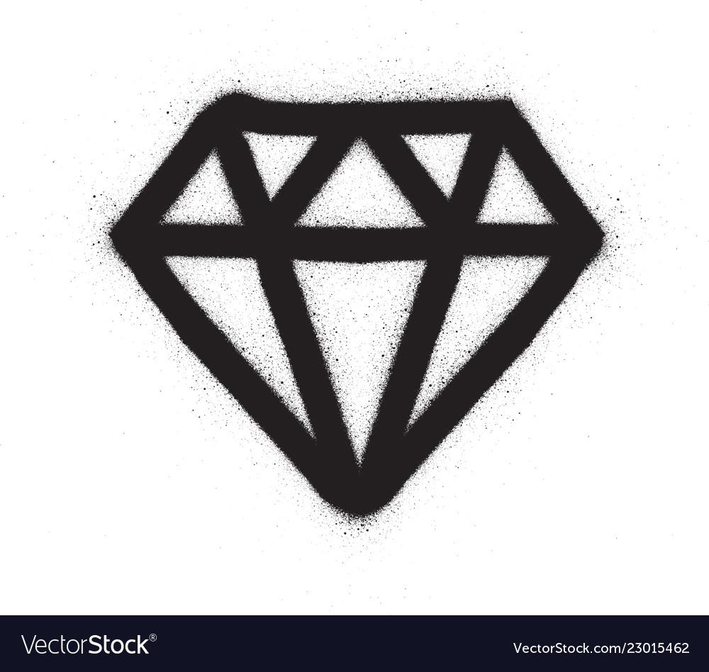 Graffiti diamond sprayed in black over white vector image jpg 1000x948 diamond graffiti drawing