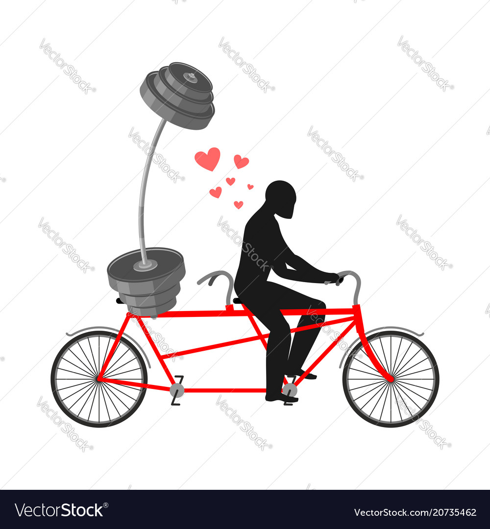 Lover fitness man and barbell on bicycle walk on