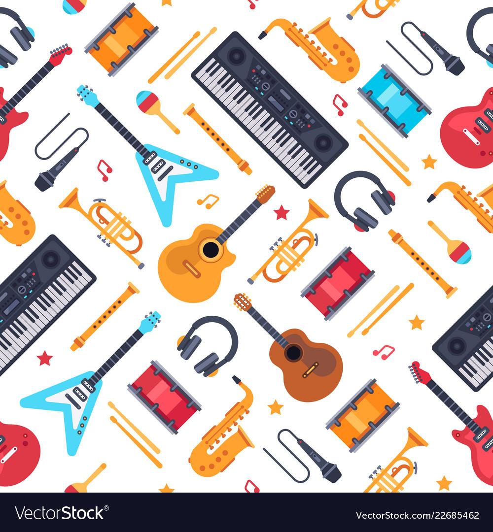 Musical instruments seamless pattern vintage
