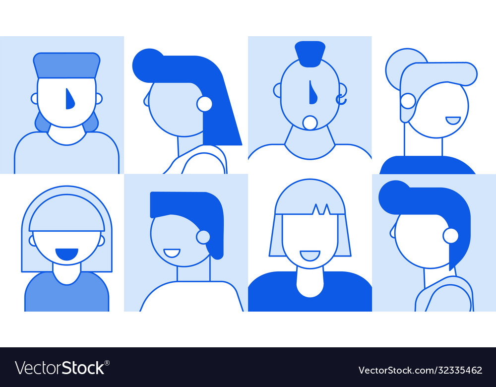 People faces avatar template set for social media