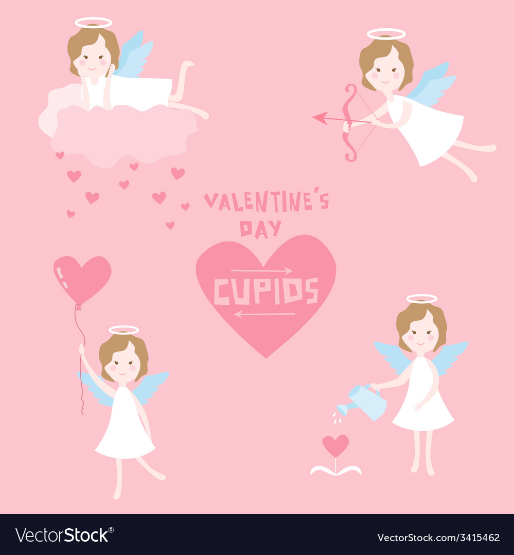 Valentines Day Set - Cupid Angels with Hearts
