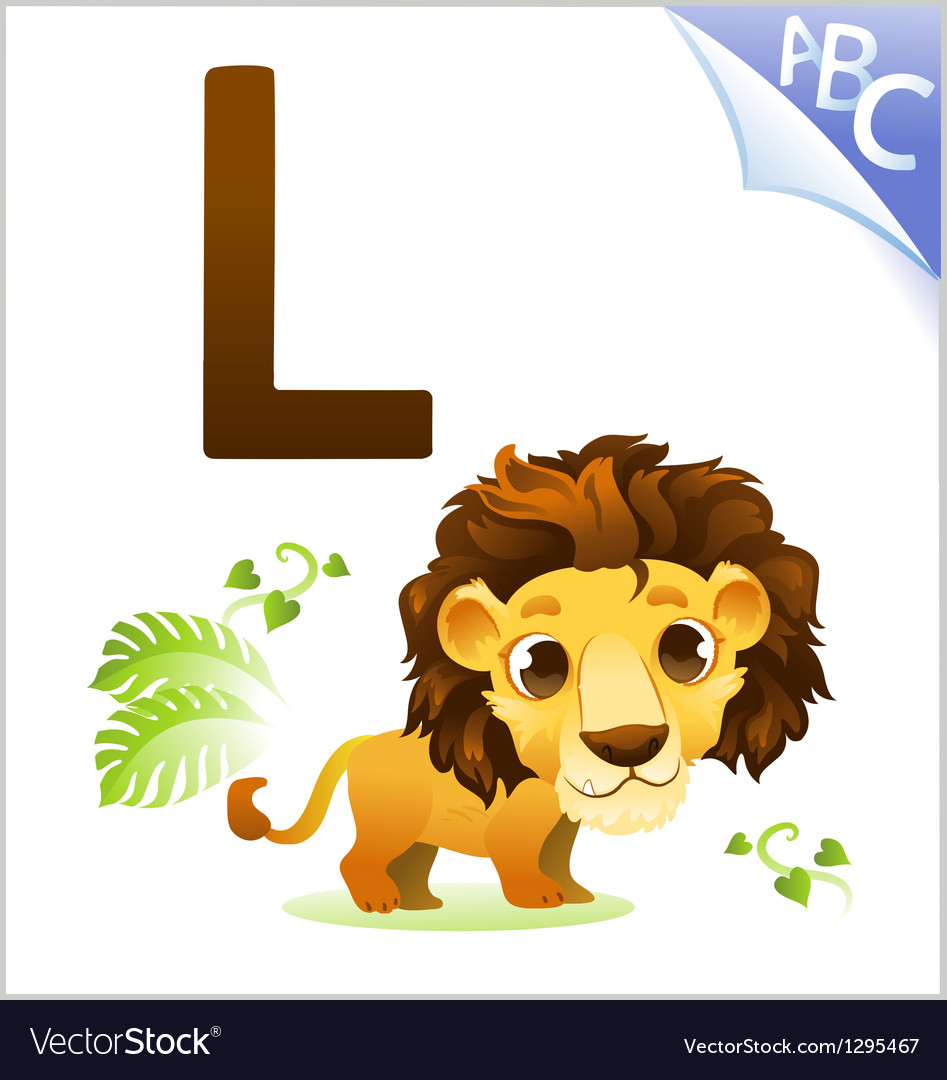 Animal alphabet for the kids for the Lion