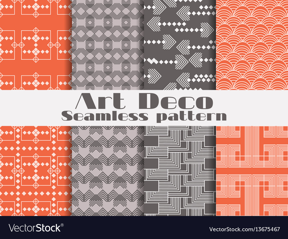 Art deco seamless pattern set retro backgrounds