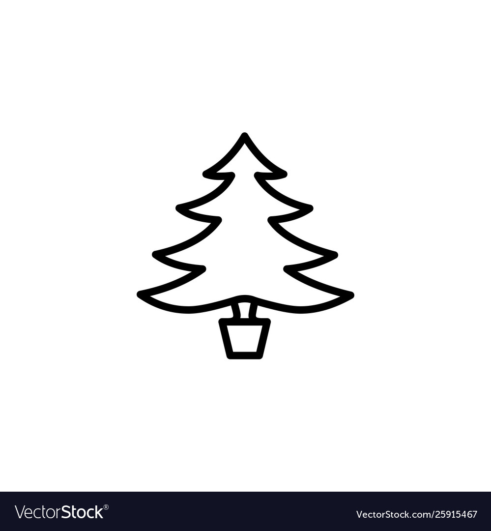 Christmas tree line icon in flat style icon black