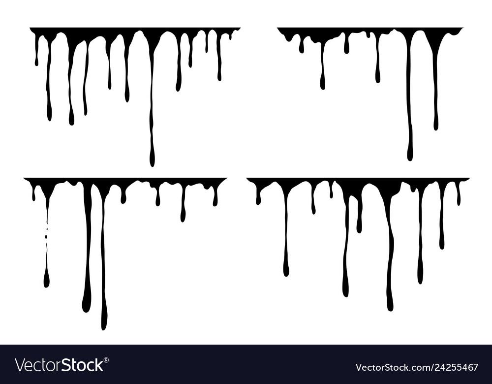 Hand drawn paint splatter melt liquid leak ink