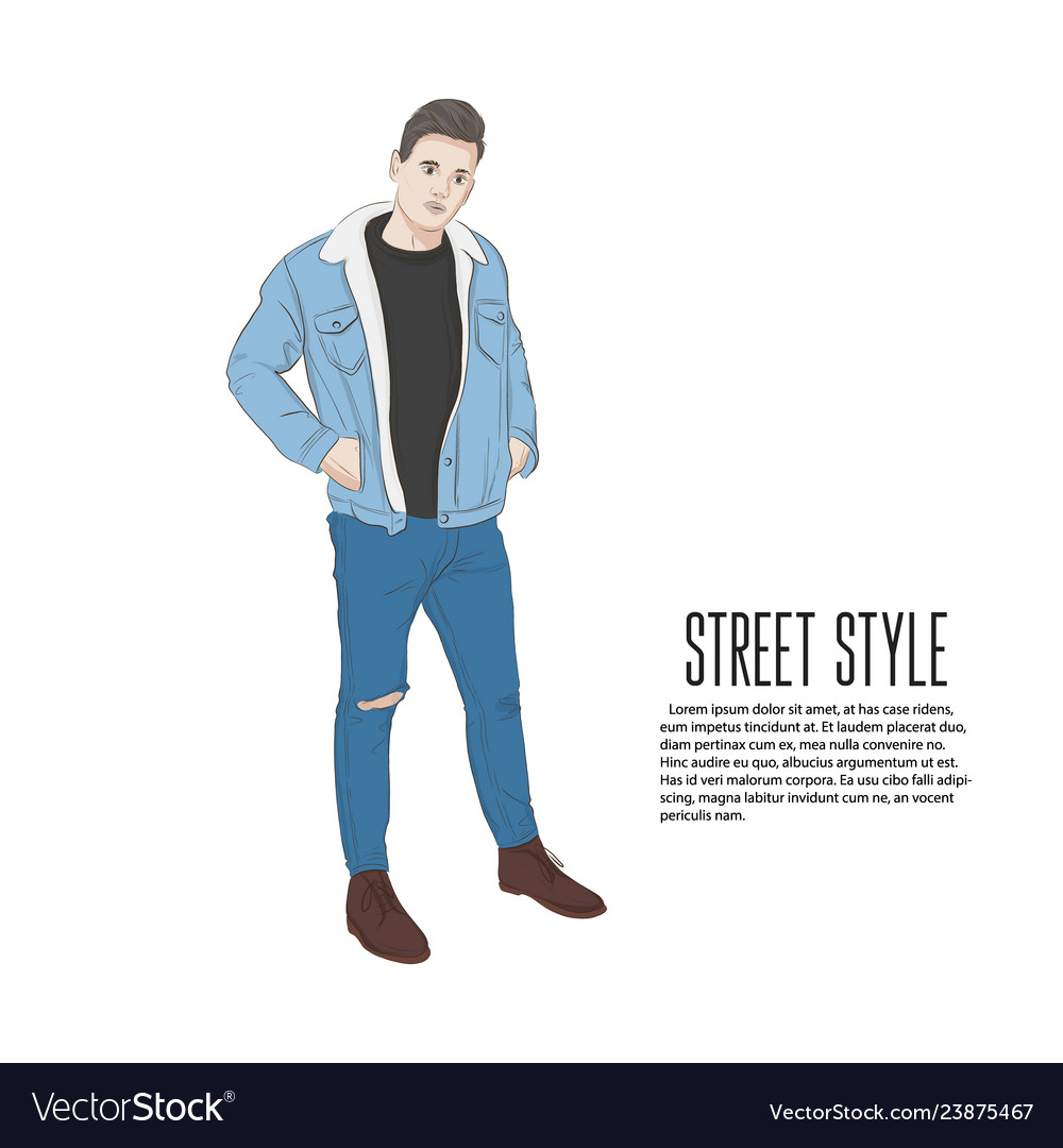 Handsome man in jeans jacket and t-shirt summer