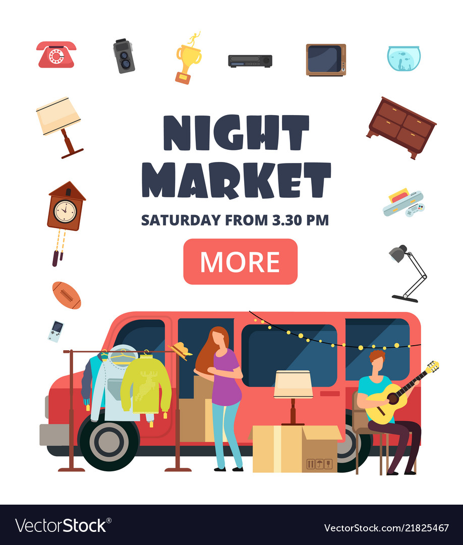 Night market street bazaar invitation poster