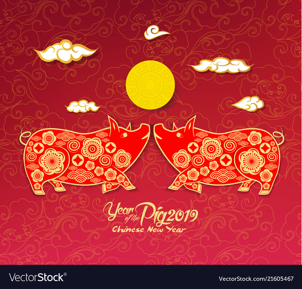 oriental chinese new year 2019 background year of vector image