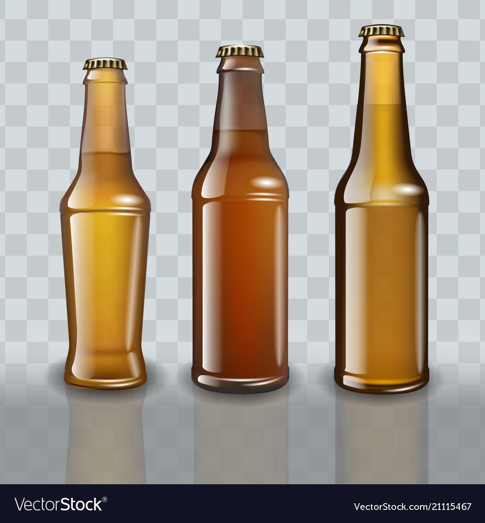 Set of full beer bottles on transparent background