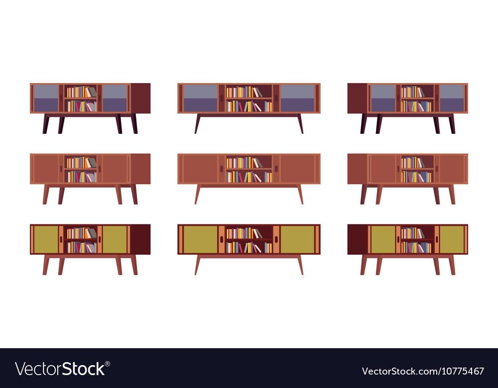 Set of retro credenzas with bookshelves