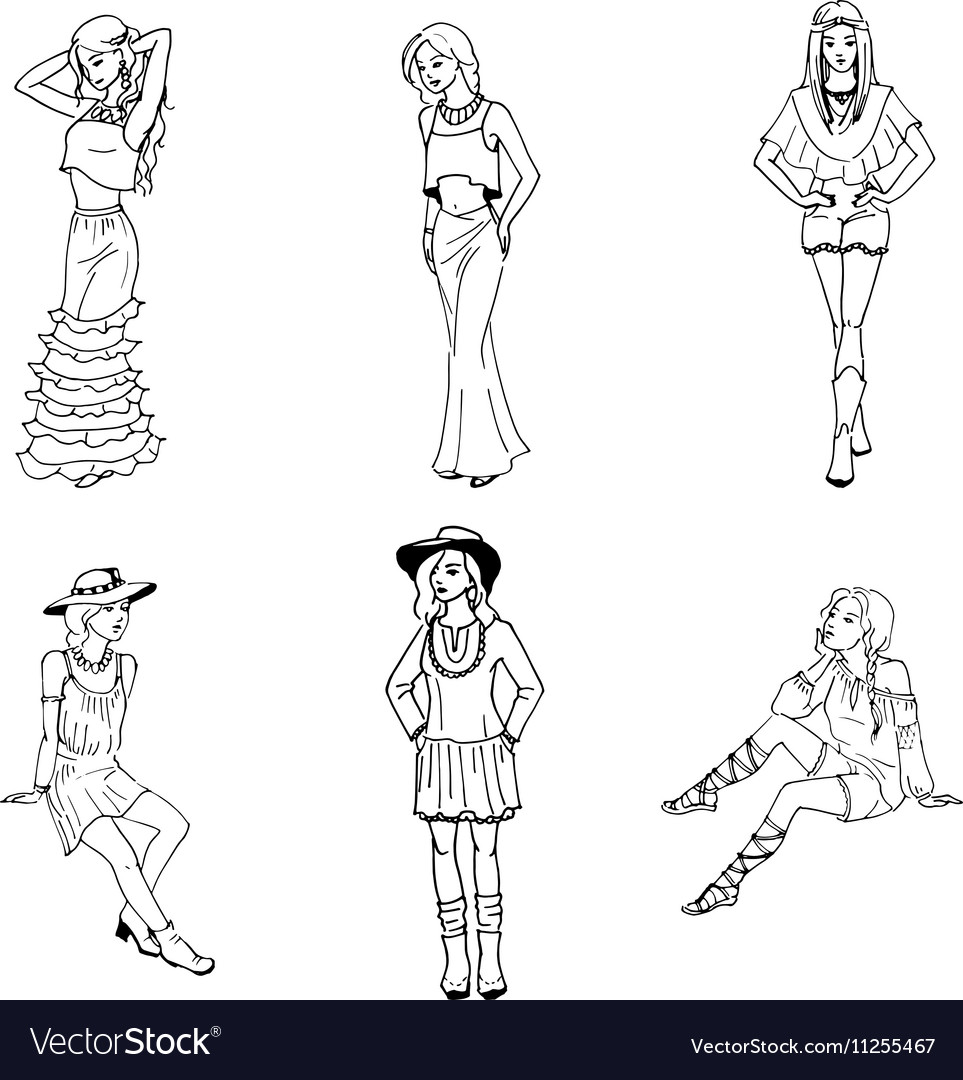 Sketch set beautiful girl in fashionable clothes vector image
