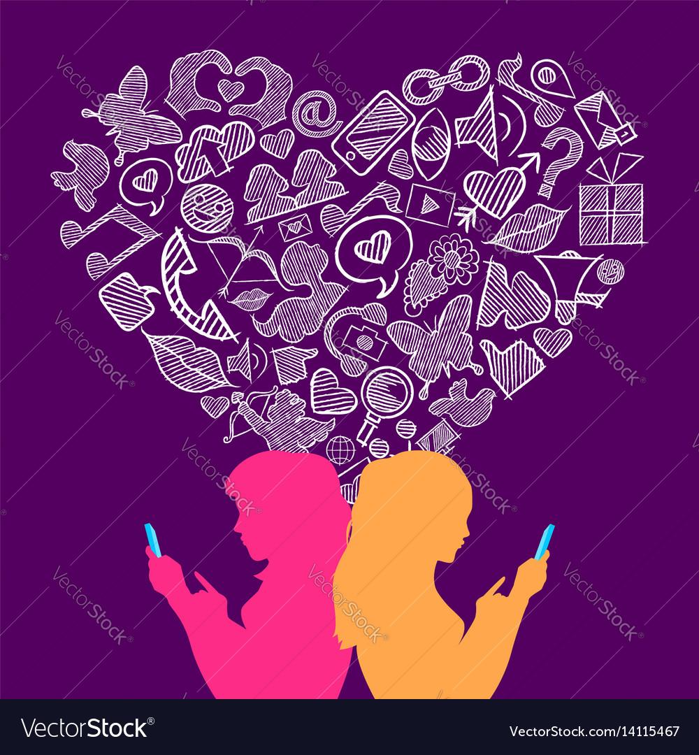 Social media lesbian love internet icons concept vector image