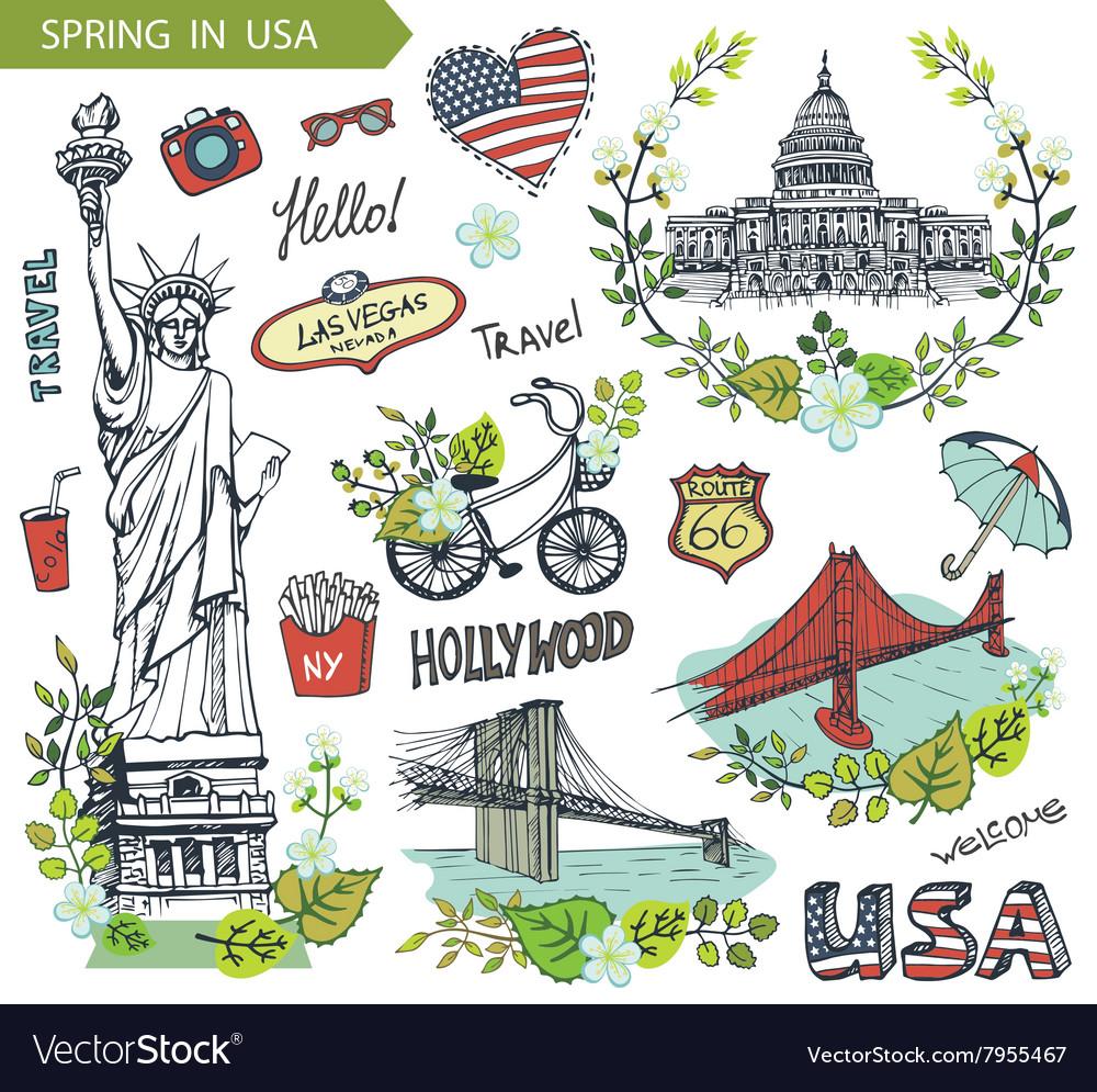 Spring in USAFamous landmarksfloral decor set vector image