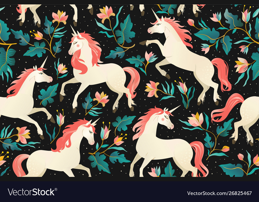 Unicorns on a dark background with a fairy forest