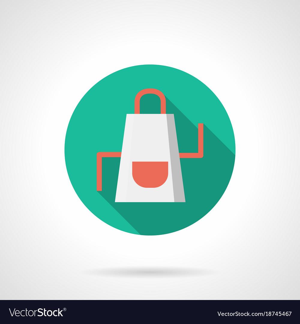 White apron flat round icon
