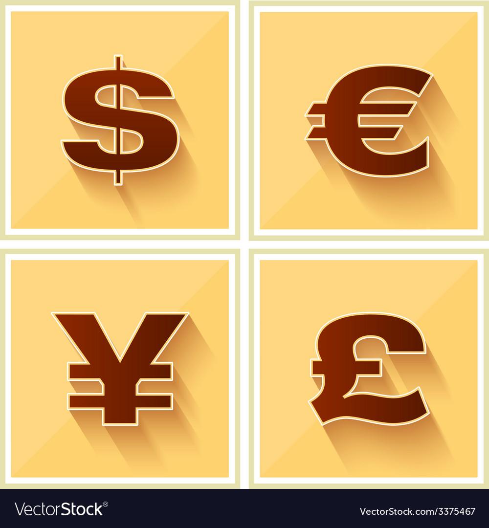 World Currency Symbols Flat Icon Retro