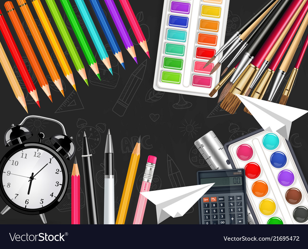 Alarm clock and drawing tools realistic top