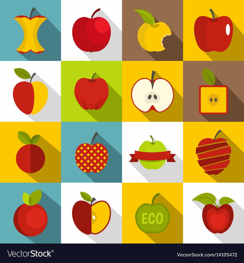 Apple icons set design logo flat style