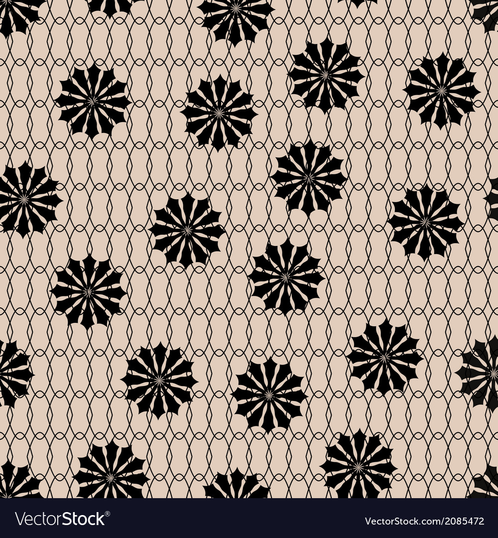 Black floral fishnet seamless lace pattern on beig vector image
