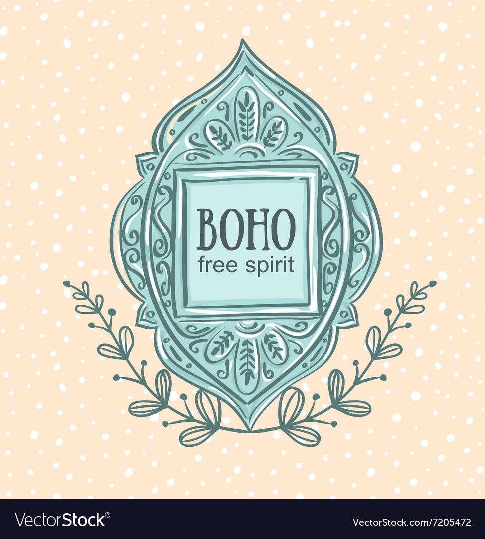 Boho style background Blue decorative frame