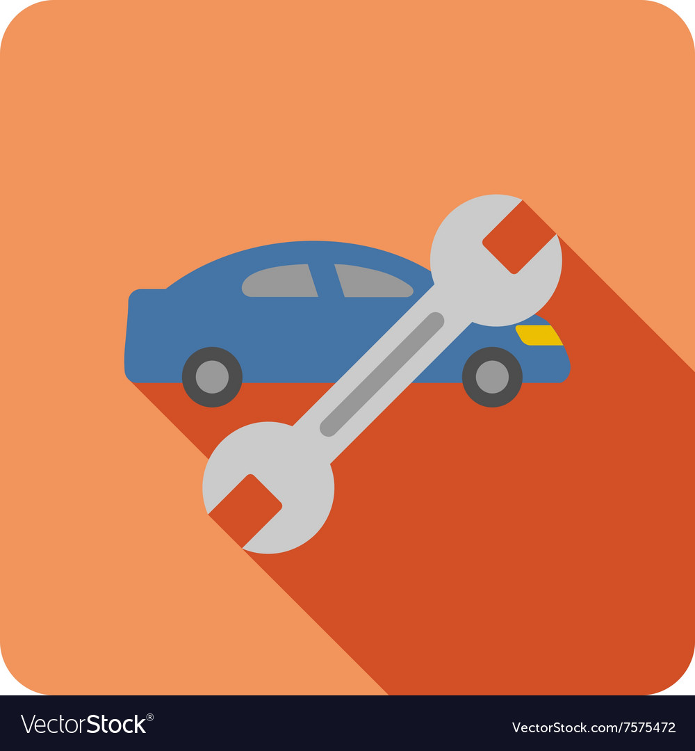 Long'S Auto Repair >> Car Repair Flat Rounded Square Icon With Long