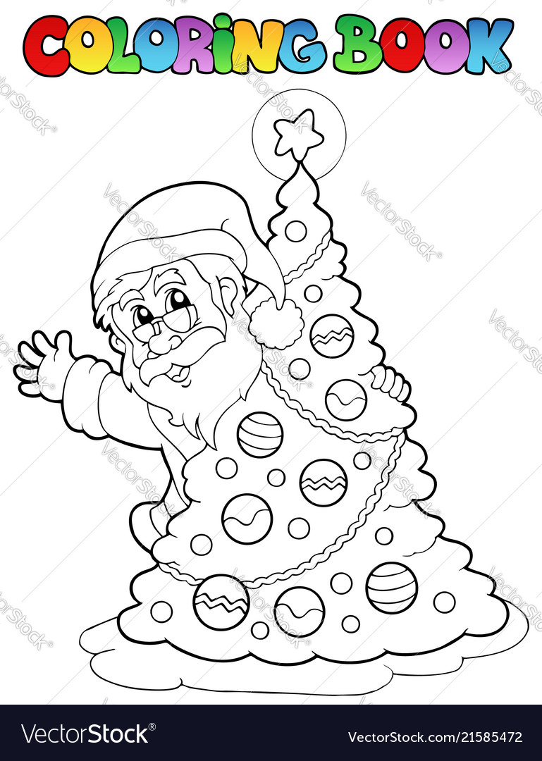 Coloring book santa claus theme 5 Royalty Free Vector Image