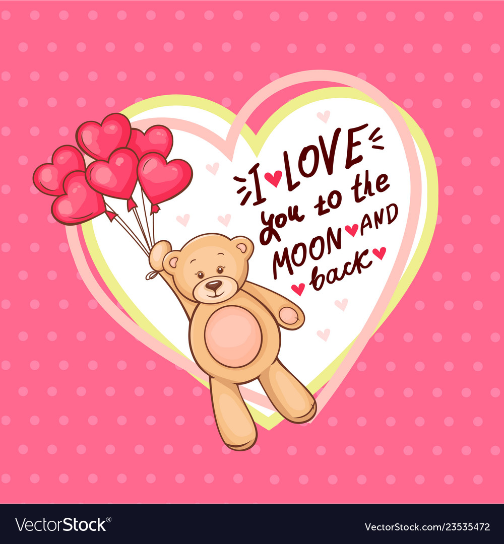 Cute valentine teddy bear with big heart