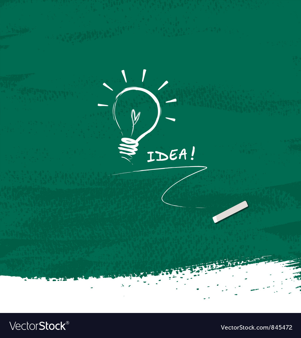Drawing bulb light idea on blackboard background vector image