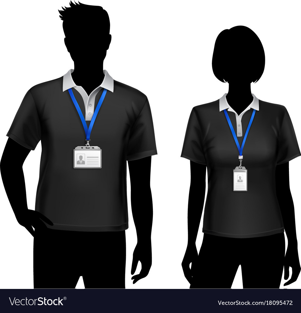 employees silhouettes id cards badges royalty free vector