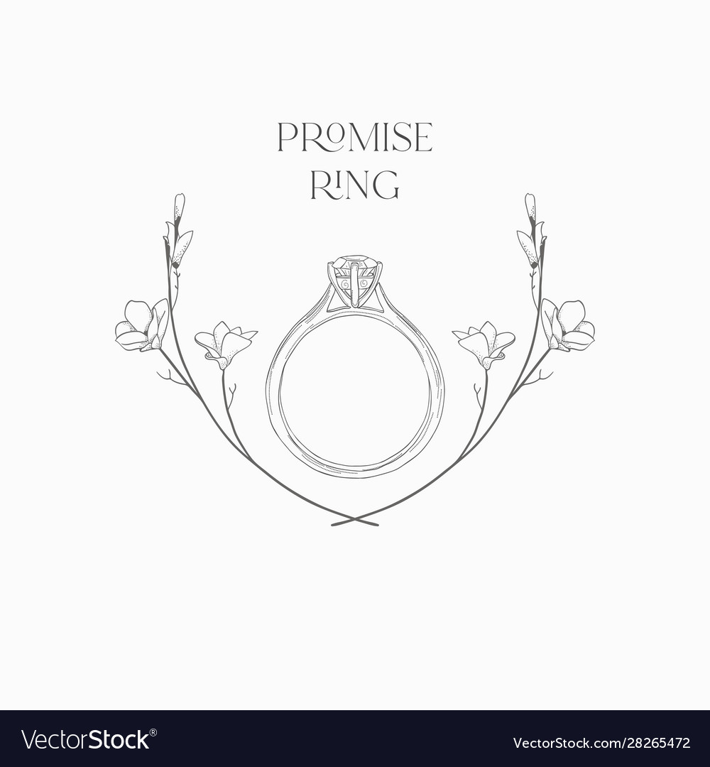 Hand drawn wedding ring in floral frame
