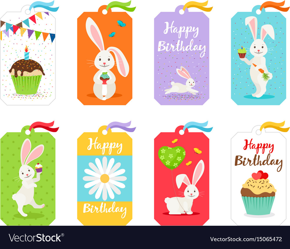 Happy birthday cards and invitation tags