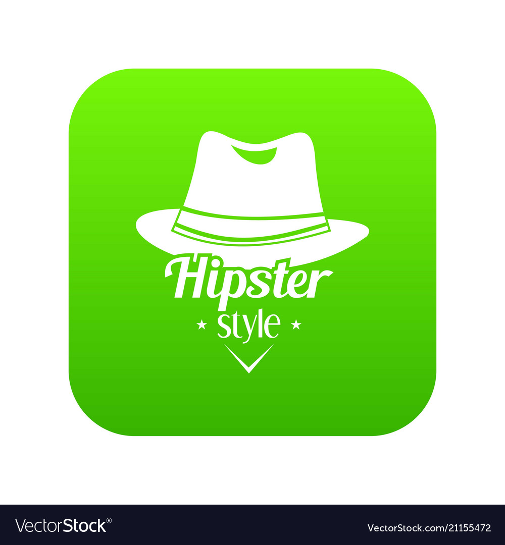 Hipster hat icon green