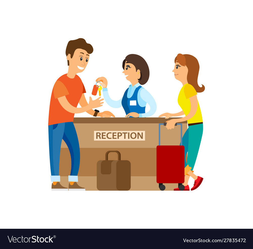 Hotel reception receptionist with keys and client