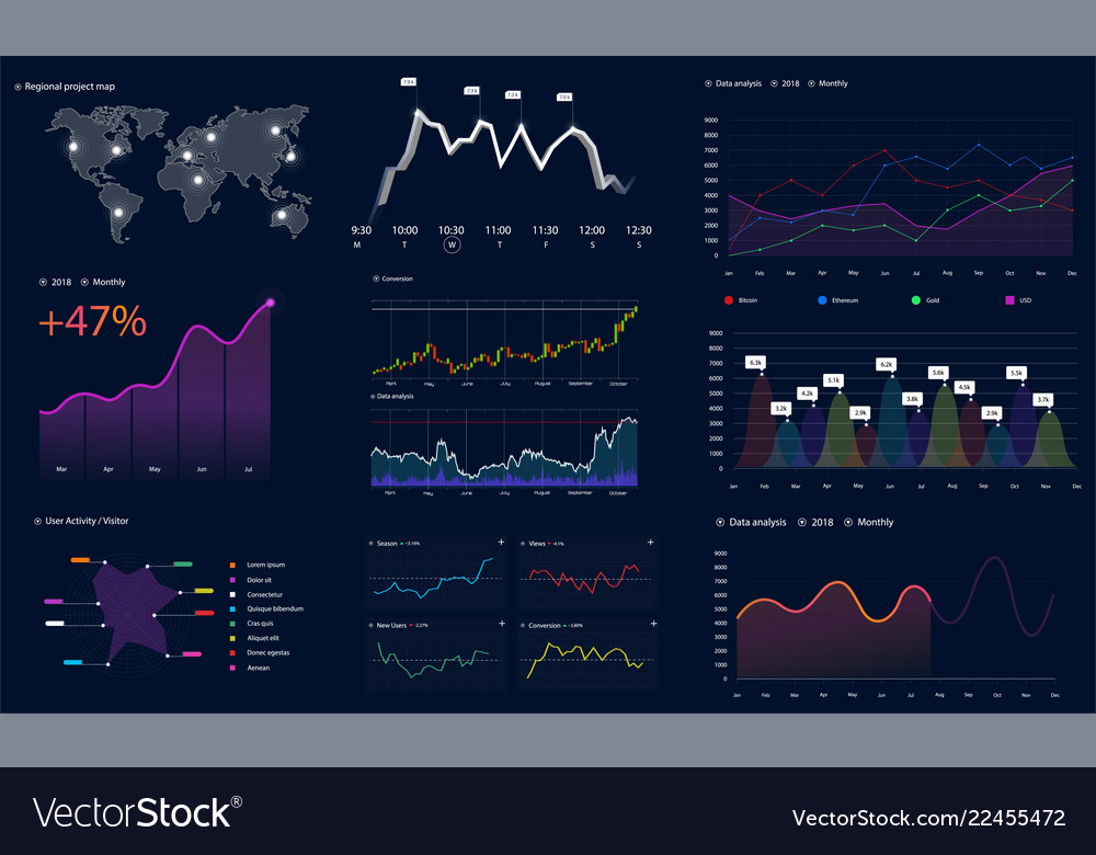 Interface screen with data infographic hud style
