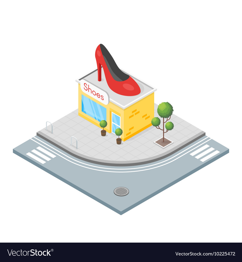 Isometric 3d of shoes shop