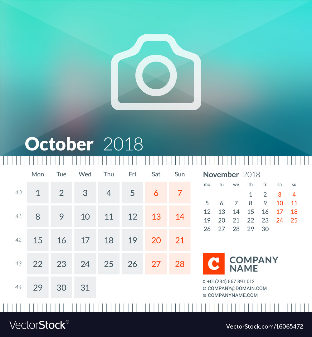 October 2018 calendar for 2018 year week starts vector image