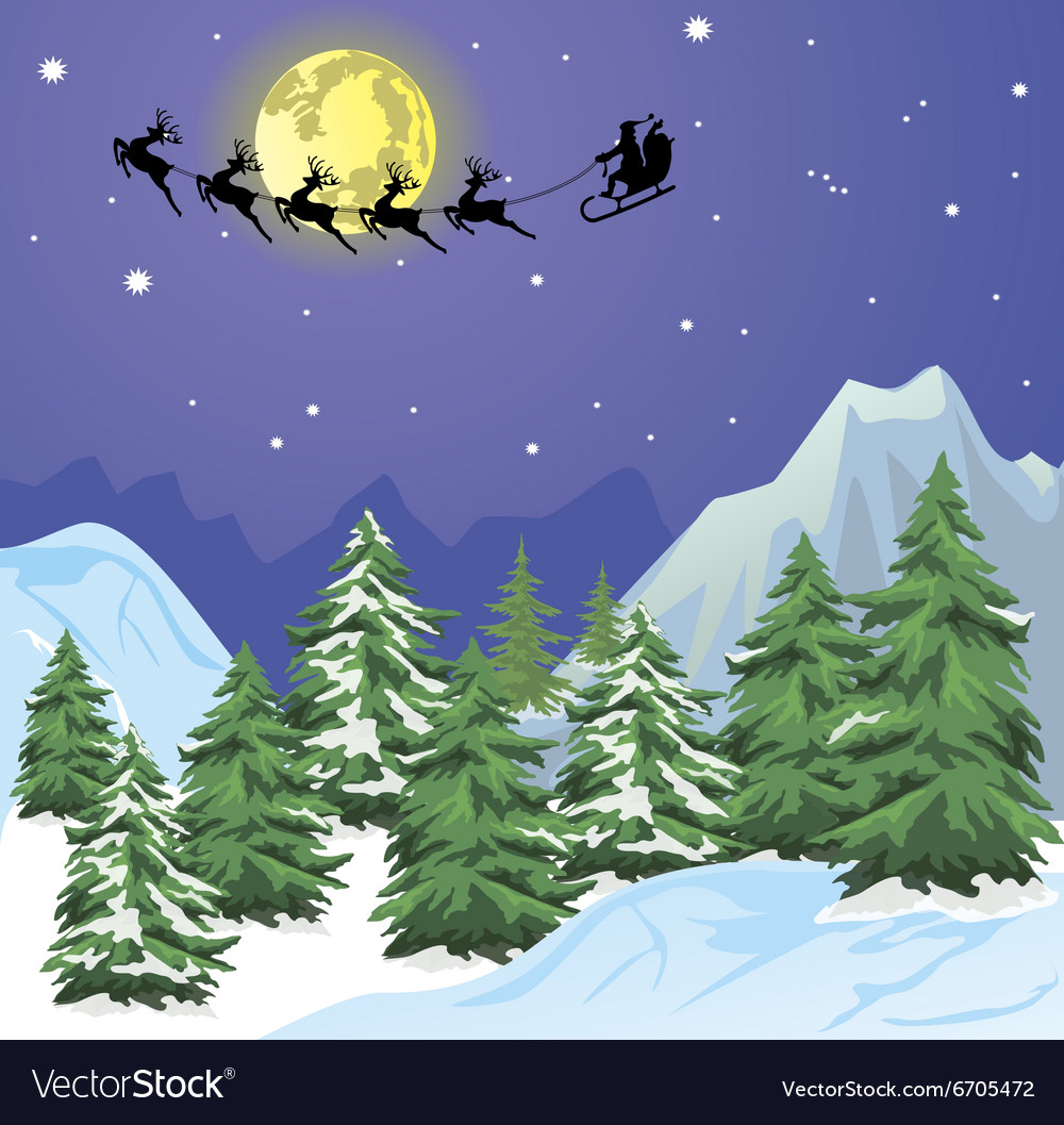 Santa s sleigh on moon background