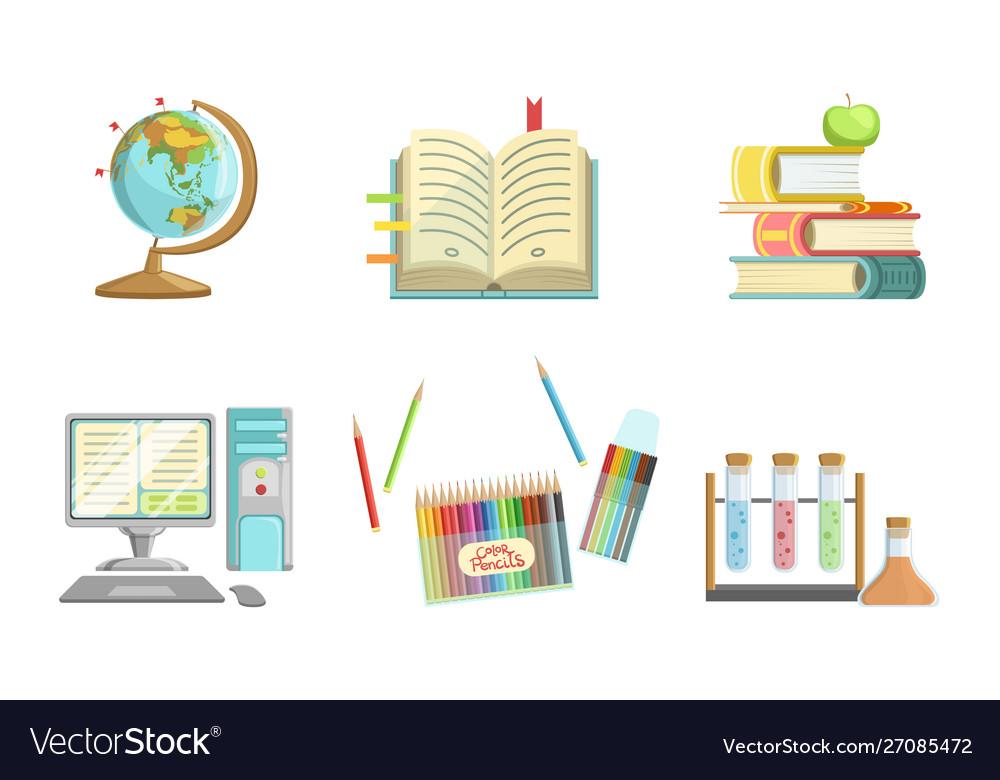 School supplies set globe copybook books apple