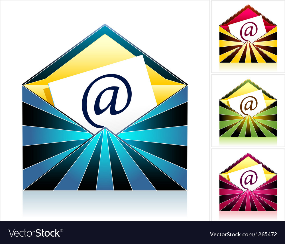 Set envelopes with rays and symbol email