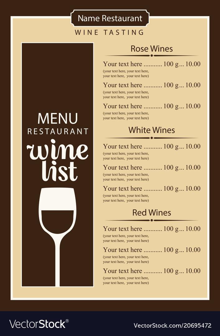 Wine list menu with glass of wine and price list
