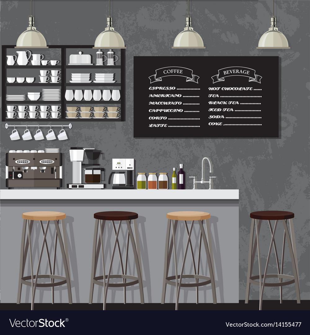 Blackampwhite coffe shop vector image