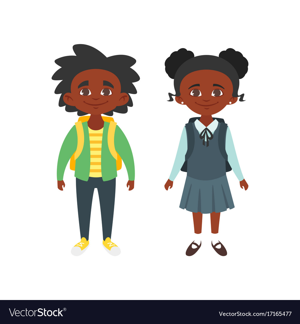 Boy and girl in school uniform vector image